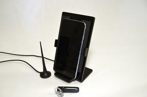 Cell phone holder with integrated antenna - Black